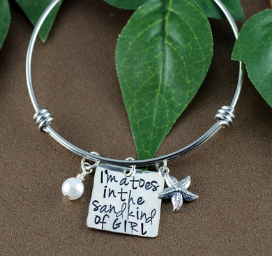 Toes In The Sand Sterling Silver Charms Bangle Bracelet