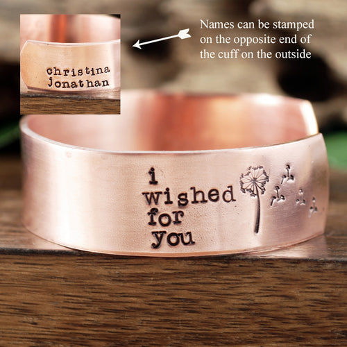 I Wished For You Wide Cuff Bracelet - Choose A Metal
