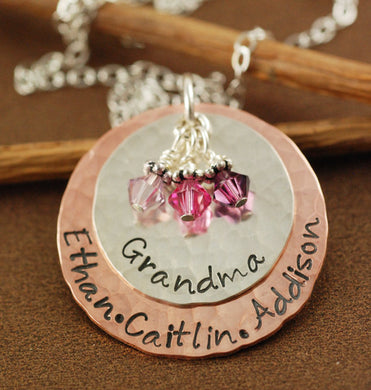 Hand Stamped Mixed Metal Grandma Necklace