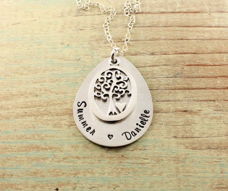 Family Tree Teardrop-Shaped Necklace