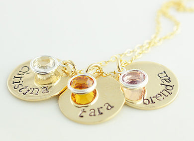 Gold Filled Disc and Birthstone Necklace