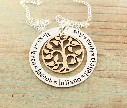 Mixed Metal Tree Of Life Loop Necklace