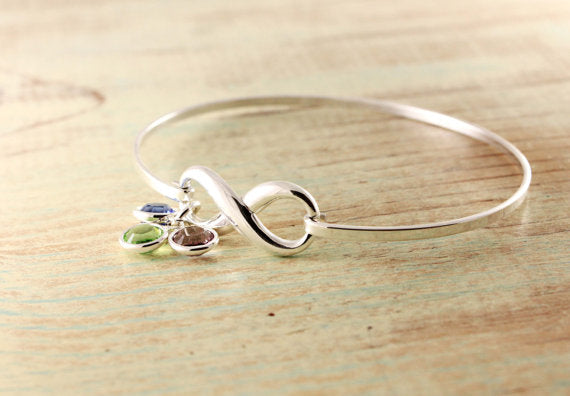 Sterling Silver Infinity Bangle Bracelet With Birthstones