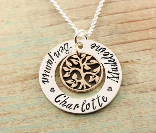 Medium Mixed Metal Tree Of Life Loop Necklace