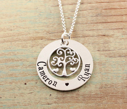 Family Tree And Hearts Loop Necklace