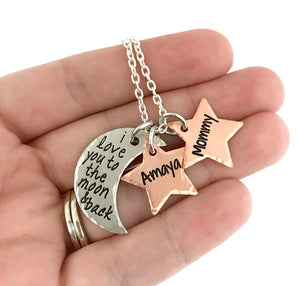 I Love You To The Moon and Back Moon and Stars Necklace