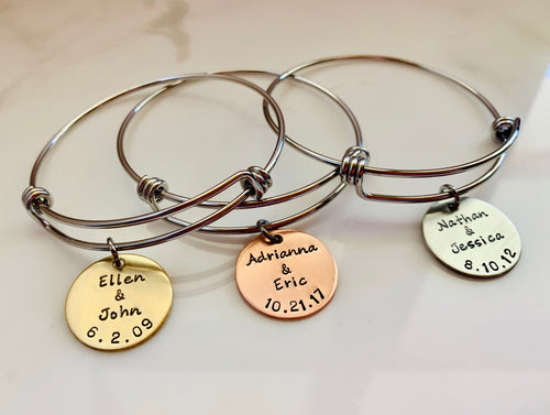 Round Disc Bangle with Names and Date-Choose A Metal