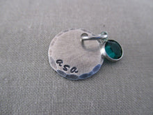 Load image into Gallery viewer, Rustic Sterling Silver Disc and Birthstone Only