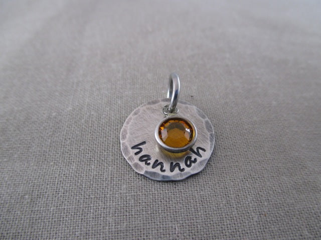 Rustic Sterling Silver Disc and Birthstone Only