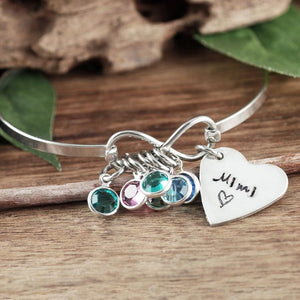 Infinity and Heart Bangle Bracelet - Choose Color