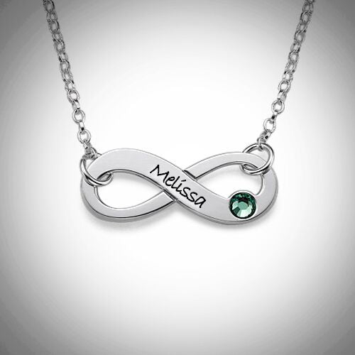 Sterling Silver Personalized Infinity Birthstone Necklace