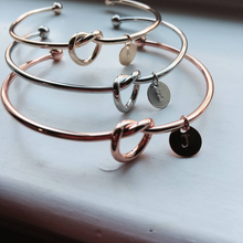 Load image into Gallery viewer, Love Knot Initial Bracelet - Silver, Gold, Rose Gold