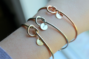Love Knot Initial Bracelet - Silver, Gold, Rose Gold