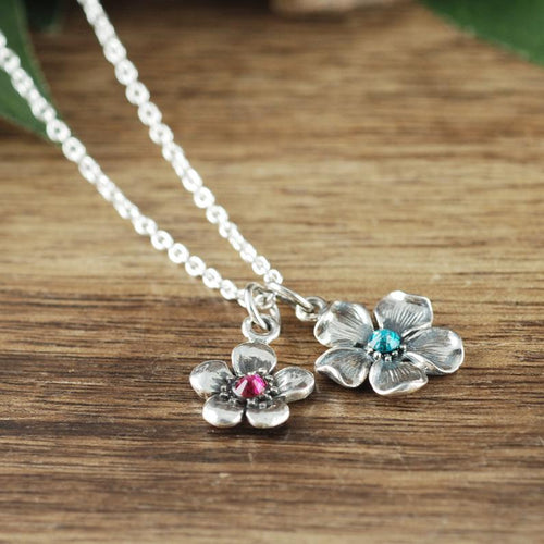 Large and Small Silver Cherry Blossom Necklace