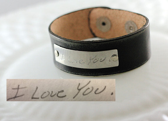 Actual Handwriting Leather Cuff