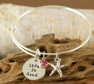 Starfish Beach Bangle Bracelet