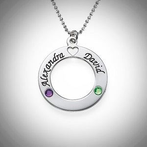 Sterling Silver Loop With Heart and Birthstones Necklace