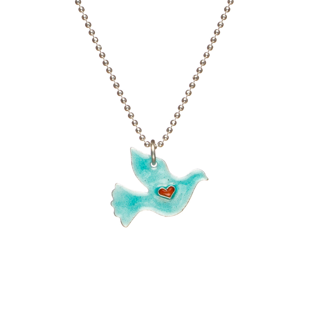 Sterling Silver Love Dove Necklace - Choose A Color