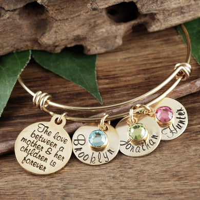 Love Between a Mother and Child Bangle Bracelet- Silver, Gold or Rose Gold