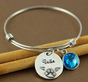 Paw Print Personalized Bangle Bracelet 2