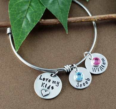 Love My Kids Heart  Bangle Bracelet