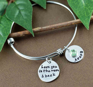 Moon and Back Bangle Bracelet