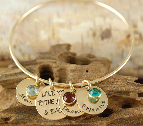 Moon and Back Gold Solid Bangle Bracelet