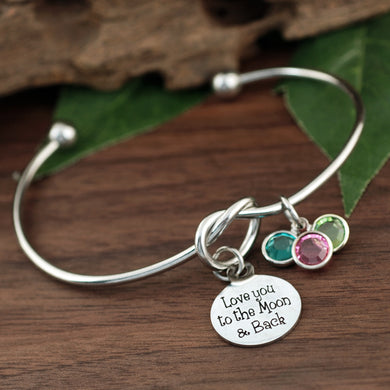 Love You To The Moon & Back Knot Birthstone Bracelet - Silver, Gold, Rose Gold