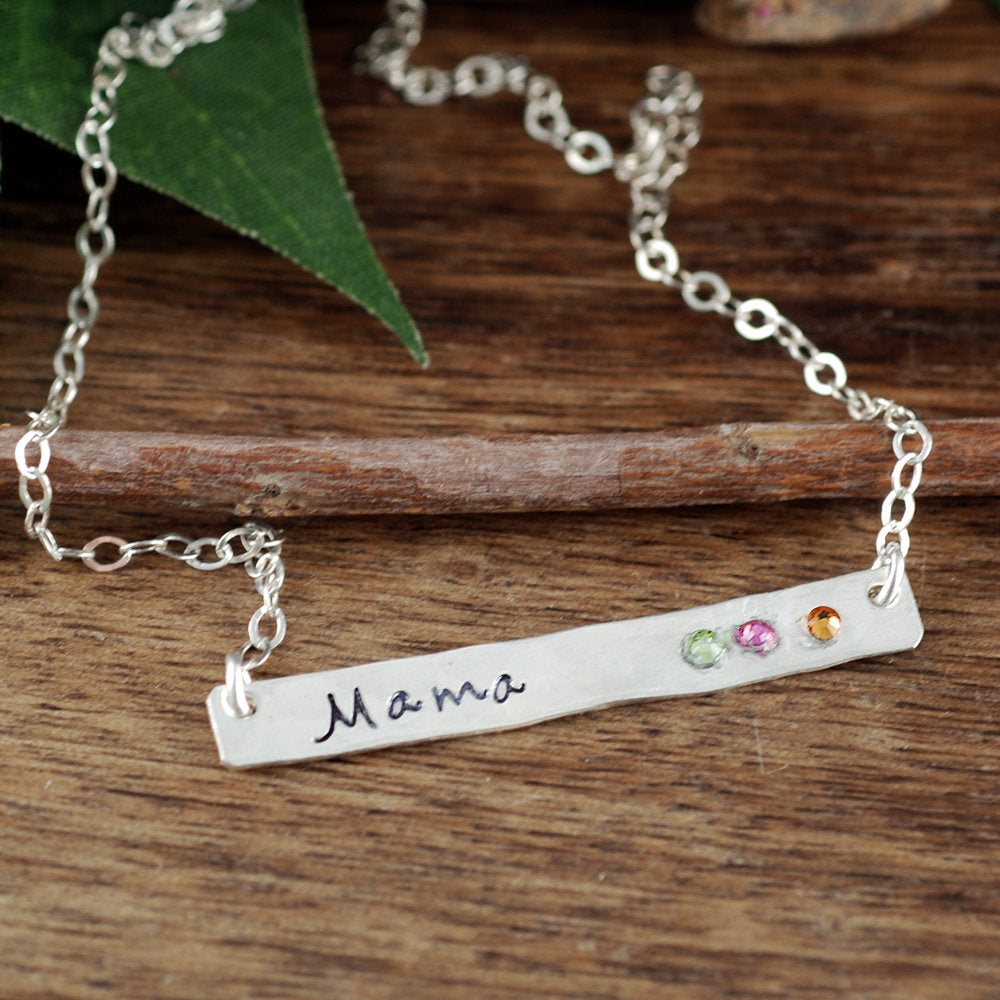Mom Bar Necklace With Inset Birthstones