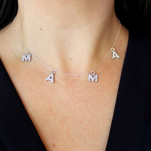 Sterling Silver or Gold and Crystal MAMA Necklace
