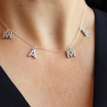 Load image into Gallery viewer, Sterling Silver or Gold and Crystal MAMA Necklace