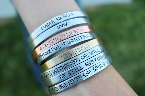 Meaningful Saying Cuff - Choose a Metal