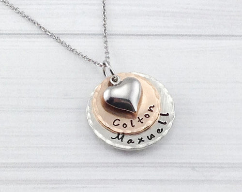 Mixed Metal Two Layer Heart Necklace