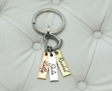 Mixed Metal Name Tags And Heart Keychain