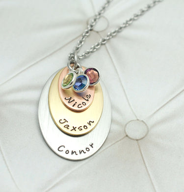 Three Layer Mixed Metal Oval Necklace