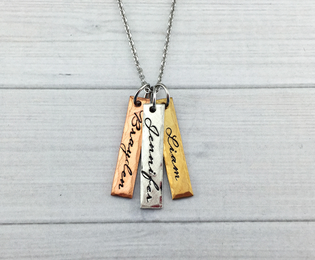 Mixed Metal Name Tags Necklace
