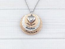 Load image into Gallery viewer, Mixed Metal Three Layer Heart Necklace