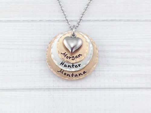 Mixed Metal Three Layer Heart Necklace
