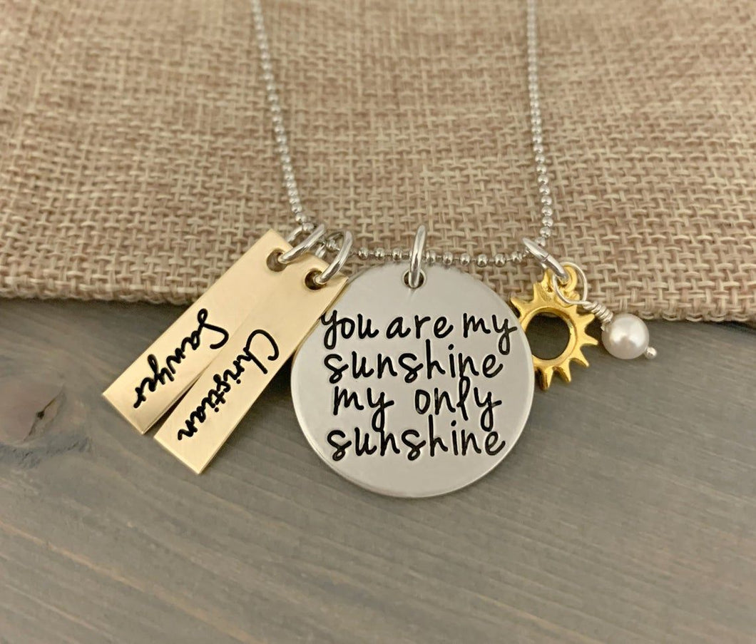 Mixed Metal You Are My Sunshine Necklace