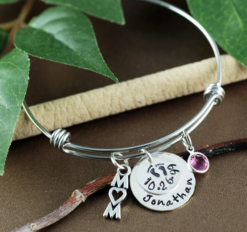 MOM Charm Personalized Bangle Bracelet
