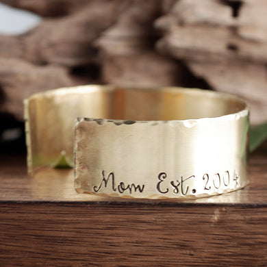Mom Wide Cuff Bracelet - Choose a Metal