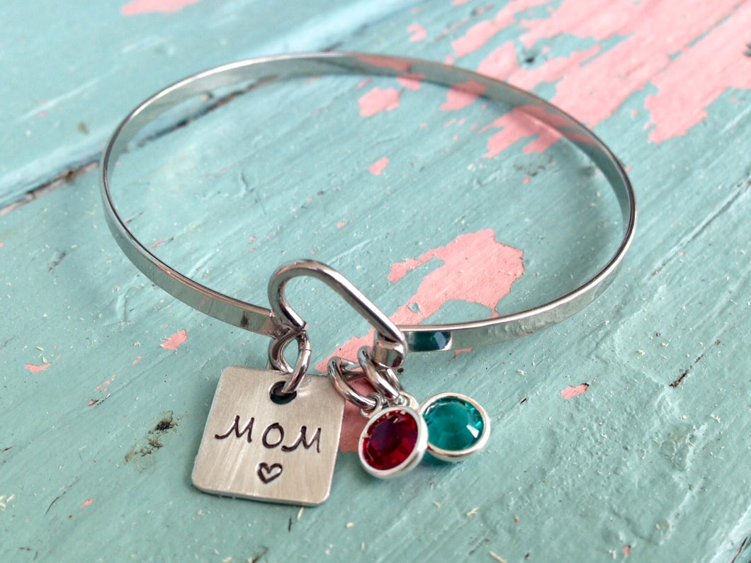 MOM Heart Bracelet With Birthstones 4
