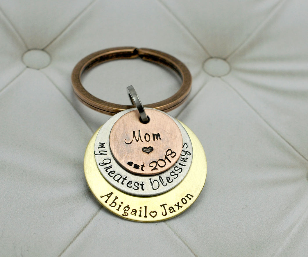 Mixed Metal Mom Keychain