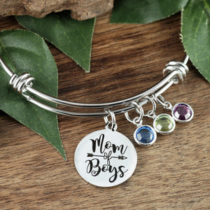Mom Of Boys/Girls Birthstone Bangle Bracelet