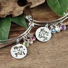 Load image into Gallery viewer, Mom Of Boys/Girls Birthstone Bangle Bracelet