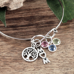 Infinity and Charms Bangle Bracelet - Choose Color