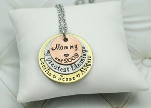 Mixed Metal Mom Necklace