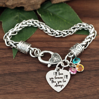 I'll Love You Forever Antiqued Silver Bracelet