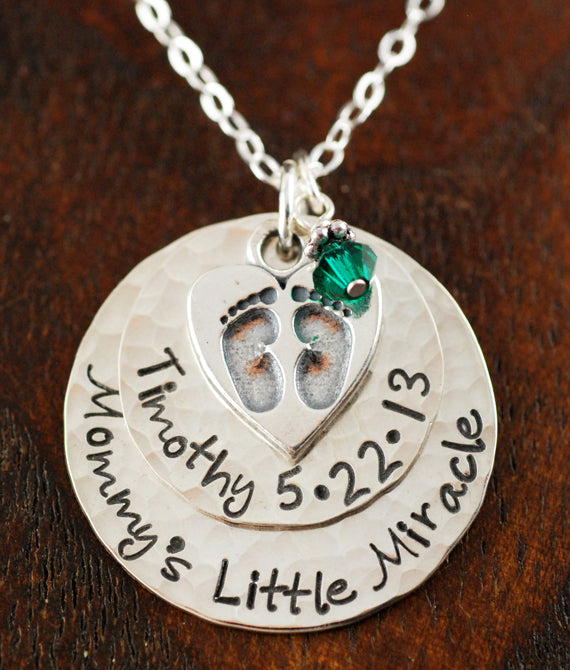 Mommys Little Miracle Baby Feet Personalized Necklace
