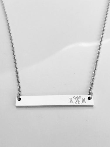 Monogram Bar Necklace - Choose a Metal